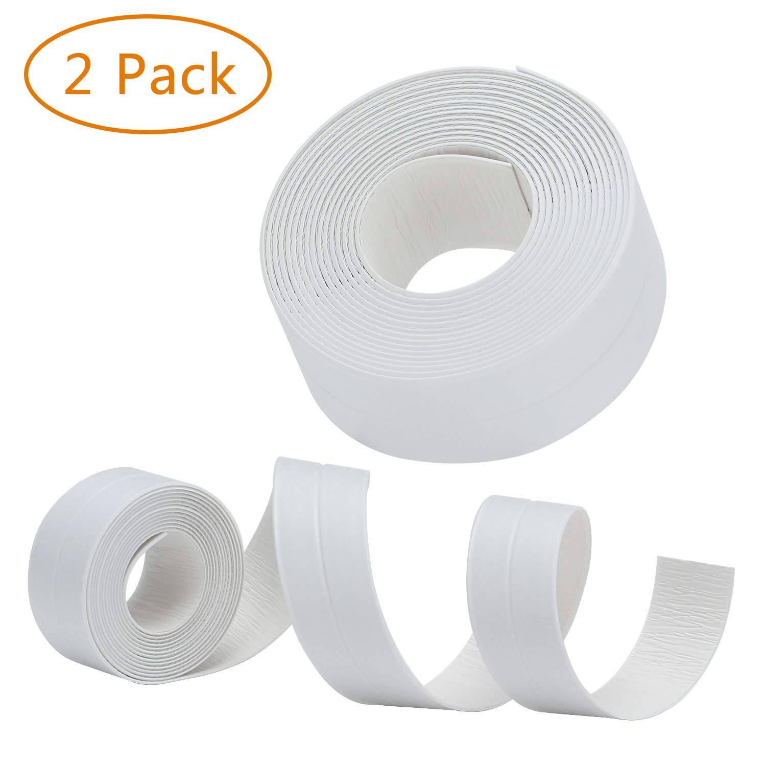 RONRI PVC Caulk Strip Waterproof Bathtub Strong Self Adhesive Stick Caulking and Flexible Peel Tape Sealing Tape Sealer Best for Fixture Wall Bathtub Corner Kitchen Bathroom Shower Sink countertop 2