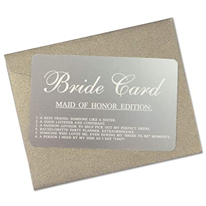Vanfeis Metal Funny Junior Maid Of Honor Proposal Gifts Ideas Cards The Bride Card Wedding Invitations With Gold Envelope Rustic Bridal Party Favors