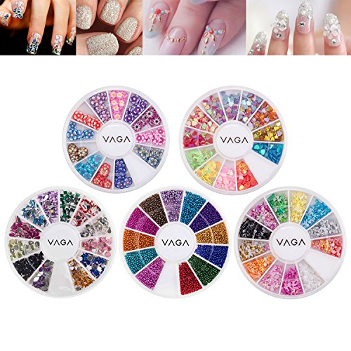 (Premium Professional 3D Nail Art Decorations Accessories Set Kit of Wheels With Bow Ties Shapes, Rhinestones / Gemstones / Crystals In Many Colors, Colorful Beads / Pearls / Caviars, Fimo Hearts And Flowers Shaped Slices / Decal Pieces By VAGA)