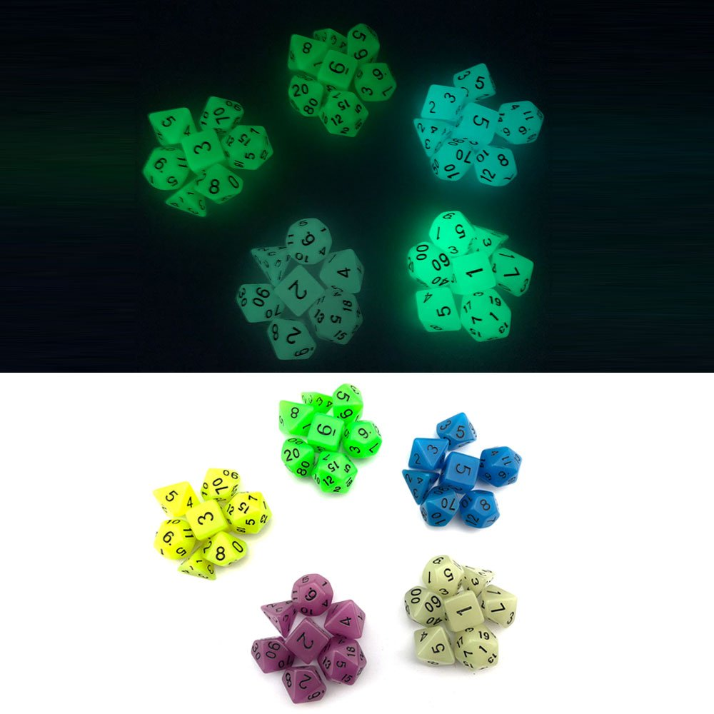 Smartdealspro 5 x 7-Die Glowing Glow in The Dark Dungeons and Dragons DND RPG MTG Pathfinder Table Games Dice Die with Free Pouches 35 Pieces