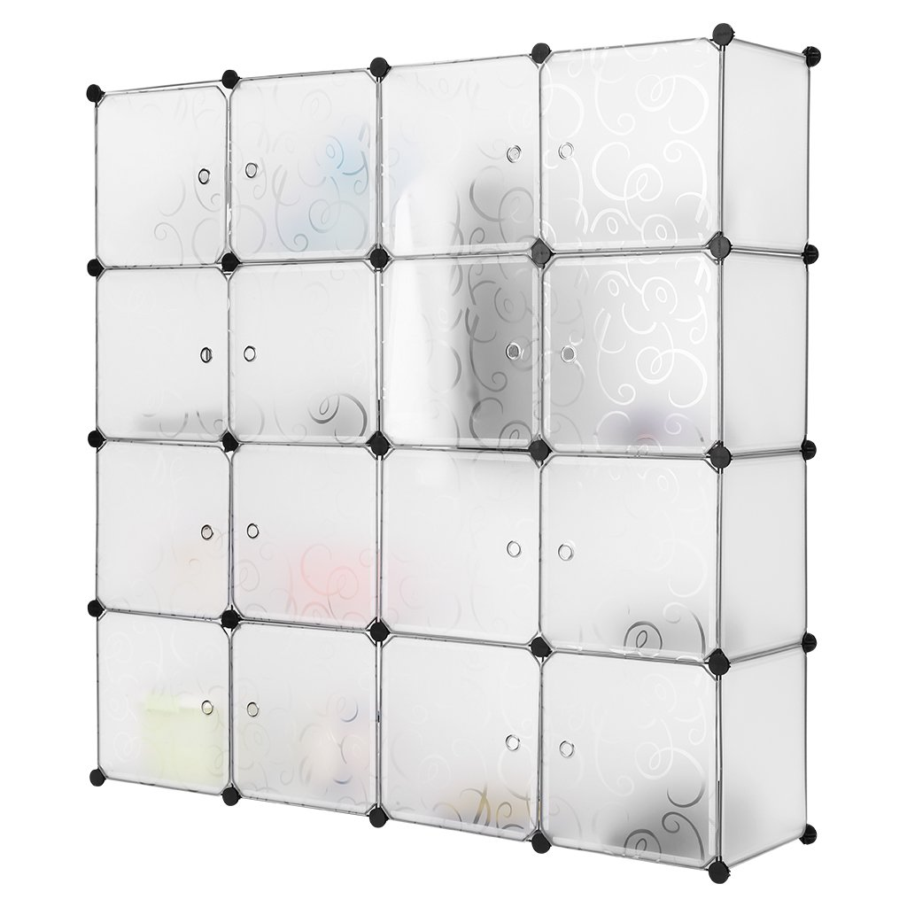 LANGRIA 16 Cubby Shelving Closet System Cube Organizer Plastic Storage Cubes Drawer Unit, DIY Modular Bookcase Cabinet for Clothes, Shoes, Toys (White)