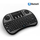 Rii i8+ BT Mini Wireless Bluetooth Backlight Touchpad Keyboard with Mouse for PC/Mac/Android, Black (i8+ BT)
