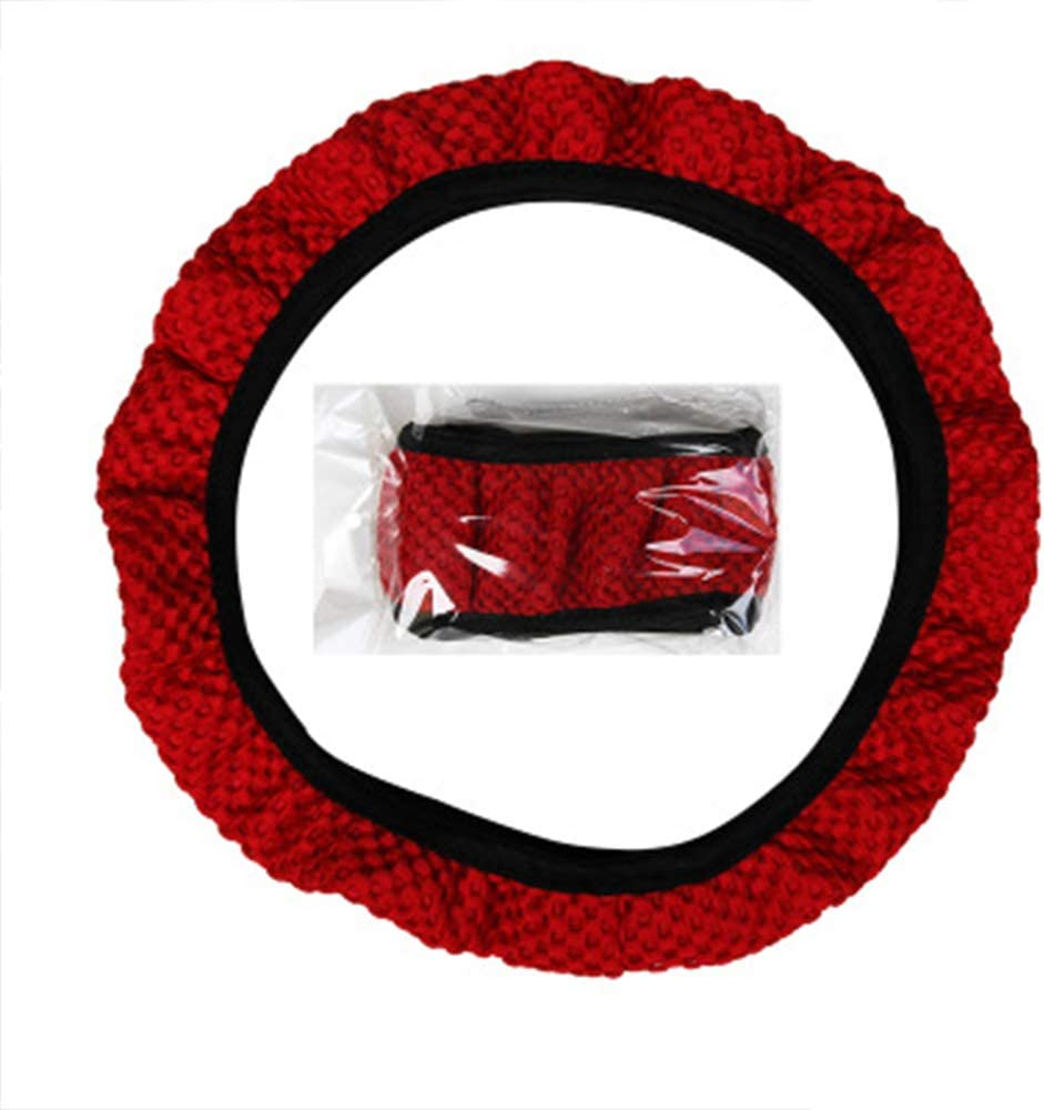 Durable Elastic Steering Wheel Cover Universal Size M 36-38cm Red