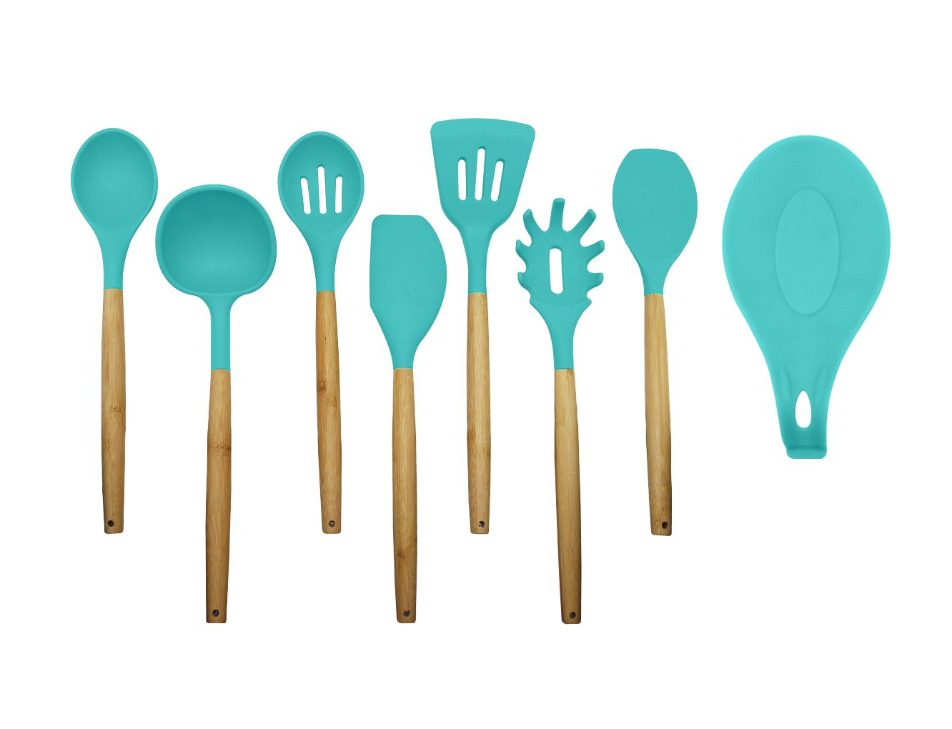 Amazon.com: Kitchen Utensils - Silicone and Wooden Spoons - 9 Pieces ...