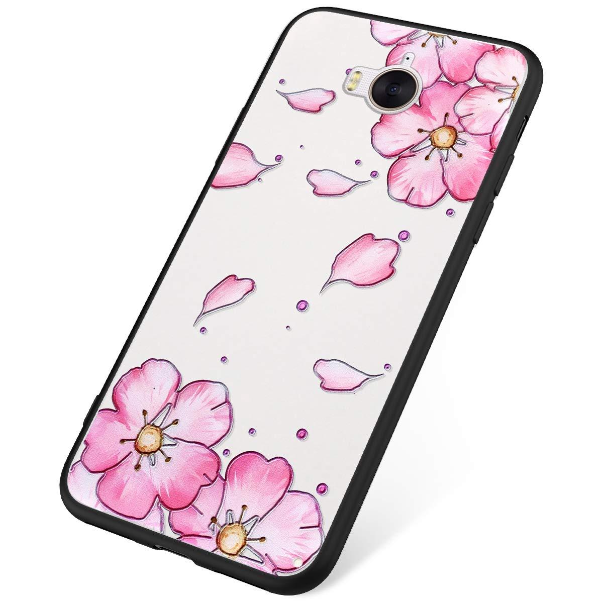 Funda Huawei Y6 2017,Carcasa Huawei Y5 2017 Suave Silicona,Moda Flores Mariposa Pintado Patr/ón Cubierta Blanco Silicona TPU y PC Ultra Delgado Anti-Rasgu/ño Case