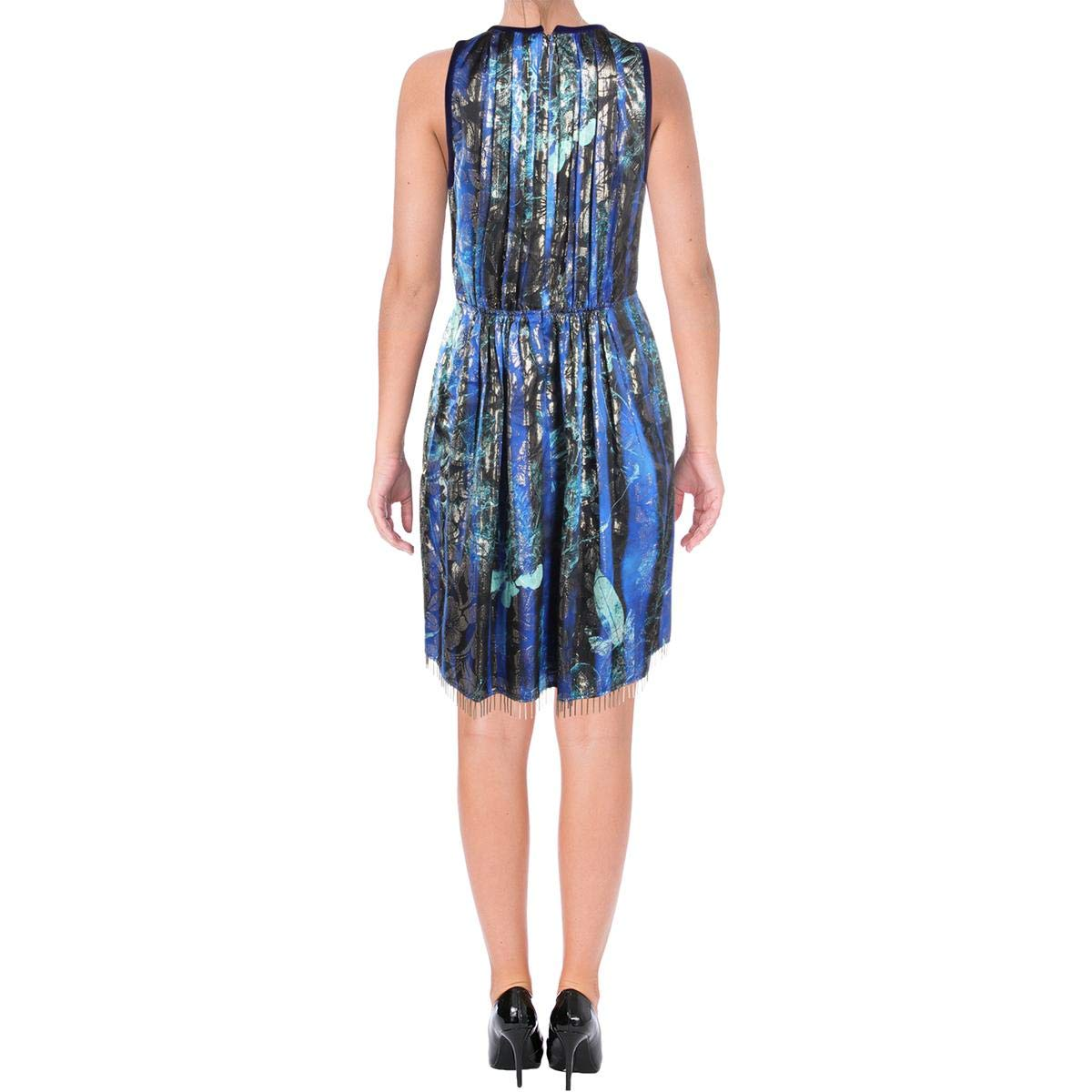 7bea3702a9e7 Elie Tahari Womens Demetria Pleated Embellished Party Dress Blue 4 at  Amazon Women's Clothing store:
