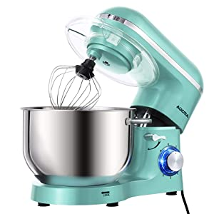 Aucma Stand Mixer,6.5-QT 660W 6-Speed Tilt-Head Food Mixer, Kitchen Electric Mixer with Dough Hook, Wire Whip & Beater (6.5QT, Blue)