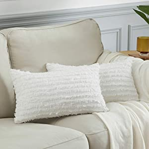 BULBUL Decorative Throw Pillow Covers for Couch,12x20 Linen White Cushion Covers Set of 2,Lumbar Sofa Bed Stripe Pillow Covers