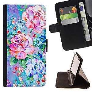 - Pink Purple Spring Retro Floral - Estilo PU billetera de cuero del soporte del tir???¡¯????n [solapa de cierre] Cubierta- For Sony Xperia Z1 L39 £¨ Devil Case £©