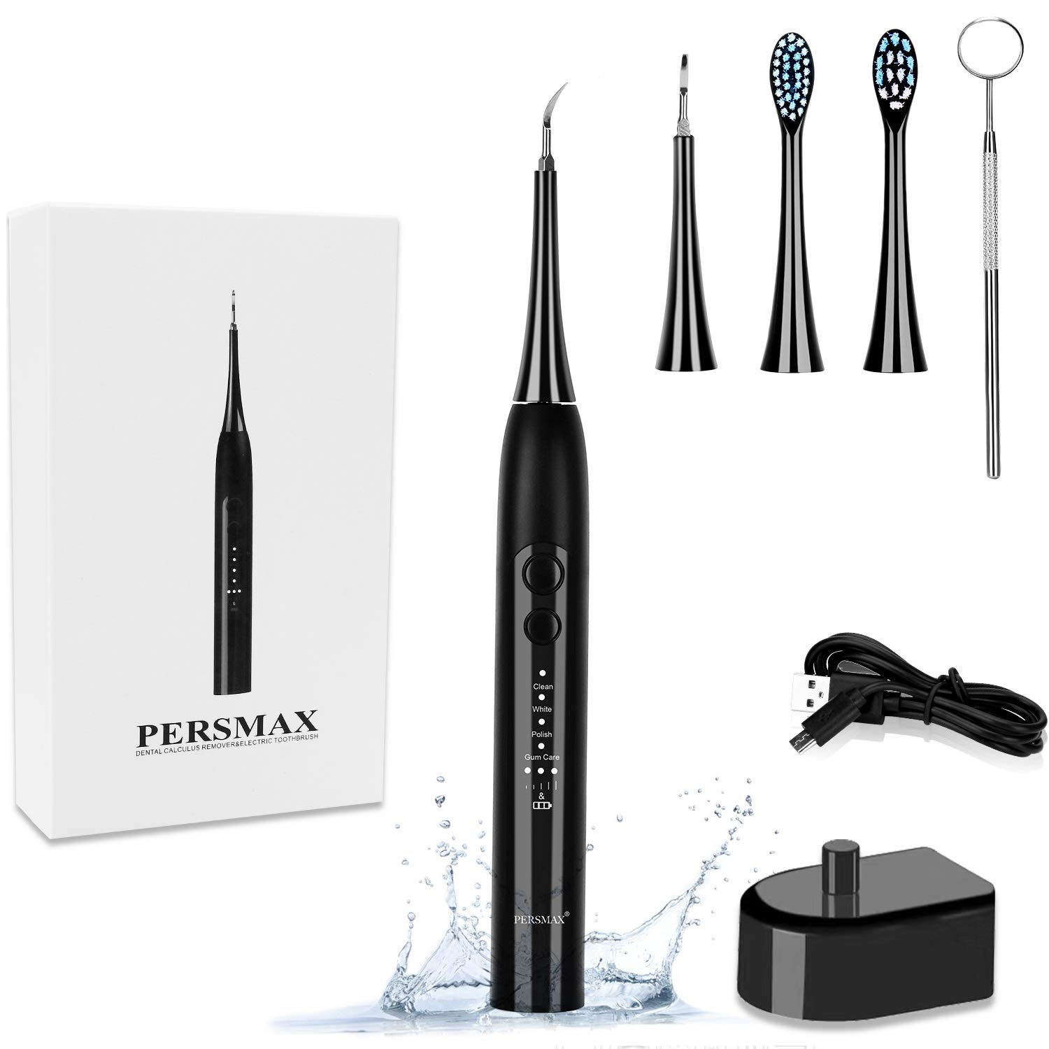 PERSMAX Electric Dental Calculus Remover, Sonic Tooth Tartar Scraper Cleaning Tools with 4 Replaceable Clean Heads, 4 Adjustable Modes, Dental Picks Mirror, USB Charger, Black.
