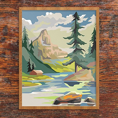- Paint by Number Style Finished Mountain Cabin & Lake Print