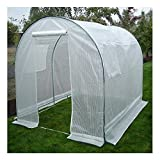 Greenhouse-Weatherguard Walk In Arched Top Garden Hot House Fully Enclosed - Screend Windows for Ventilation, Zippered Door (6'W x 8'L x 6'6''H) Small Hobby Greenhouse for decks, patios, porches, backyards