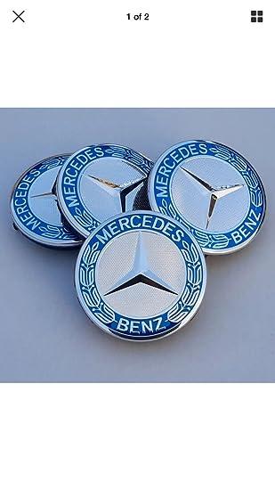 Conjunto de 4 tapacubos eMarkooz de cromo plateado y azul para llantas de aleación, ideales para ruedas de Mercedes Benz: Amazon.es: Coche y moto