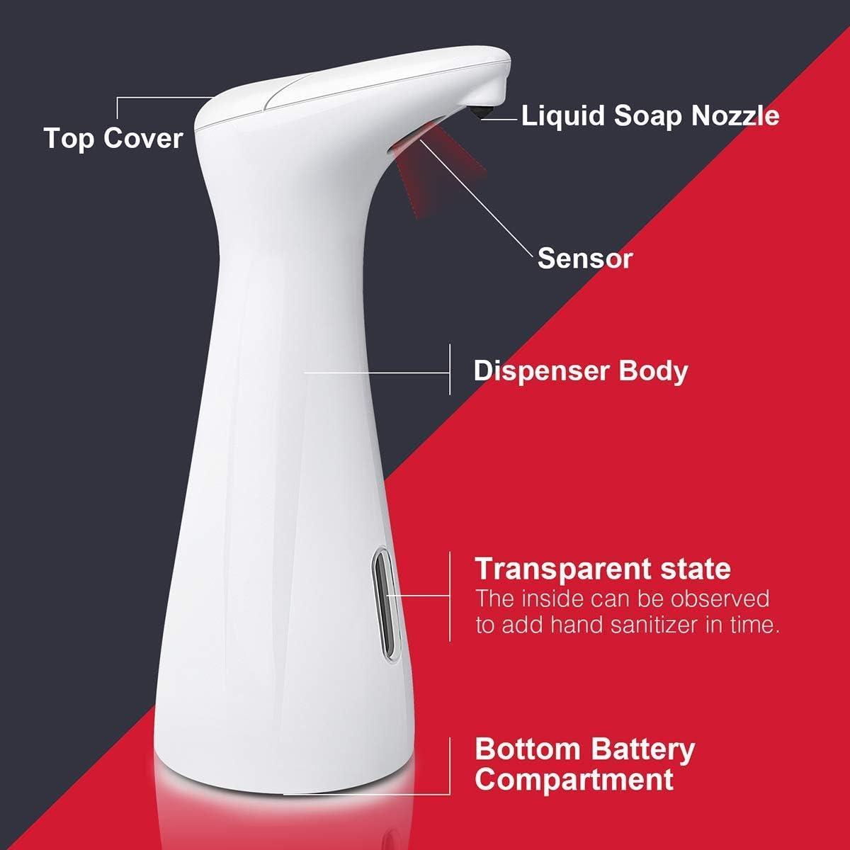 FOXNSK Distributore di Sapone Automatico Mano Automatico Touchless Sensore a infrarossi Dispenser di Sapone per Bagno Cucina Compatibile per Mano Sanitiser 400ML