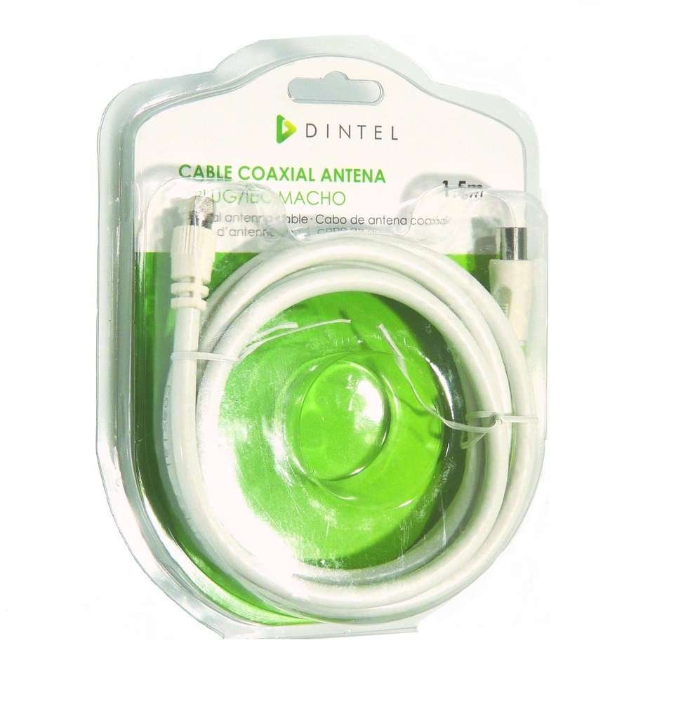 Dintel -Antena de Cable Coaxial Macho/F 1,5 Metros | Conector (A) F | Conector (B) IEC Macho | Longitud 1.5 m | Color Blanco | 0,5 mm de Conductor Interno ...