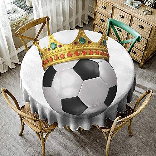 DONEECKL Round Tablecloth King Football Soccer Championship Inspired Ball Crown with Ornaments Image Print Indoor Outdoor Camping Picnic D47 QueenFull