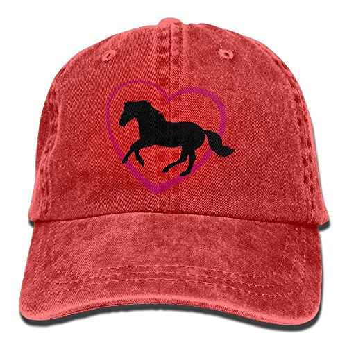 RS-pthrA2 Unisex Galloping Horse with Heart Cotton Denim Baseball Cap Adjustable Glacier Cap for Men Or Women -