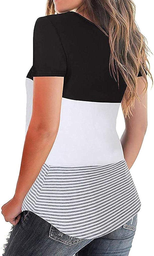 OPAKY Ropa Mujeres Camisetas Camisa de Manga Corta con Estampado de Rayas Túnica Blusa Suelta para Mujer Cute Sexy Casual Blusa Cami Camisas Camiseta Chaleco Tops para Mujeres Dama: Amazon.es: Ropa y