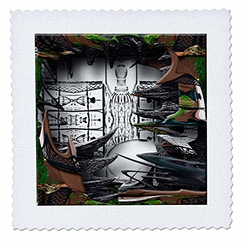 3dRose qs_47553_4 A Deep Shadow Box of Black and White Surrounded by Wispy Greens Leaves and Brown Fence-Quilt Square, 12 by 12-Inch (Wispy Leaf)