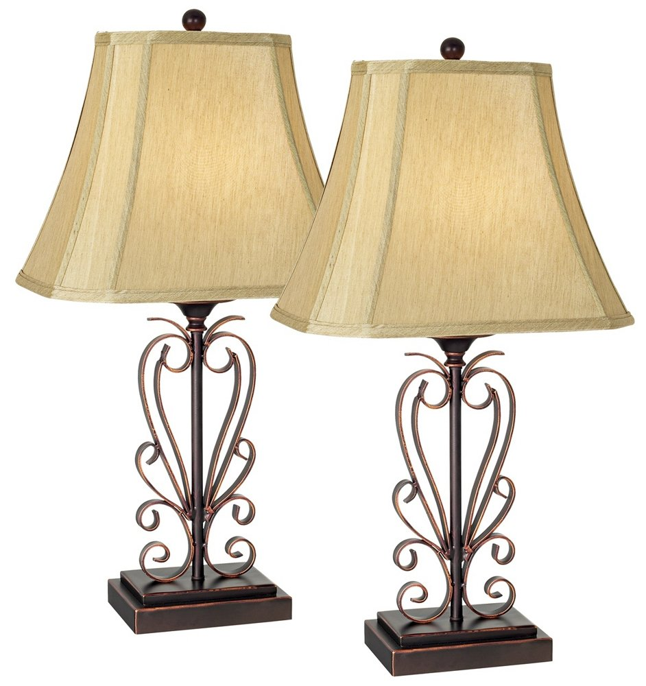Set of two iron scroll table lamps by franklin iron works set of two iron scroll table lamps by franklin iron works household lamp sets amazon aloadofball Gallery
