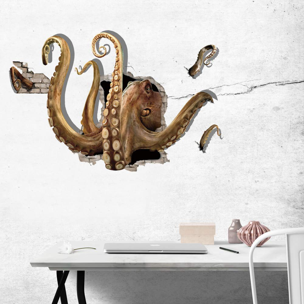Euone Wall Sticker , 3D Large Octopus Decal Home Rome Decor Stickers Murals