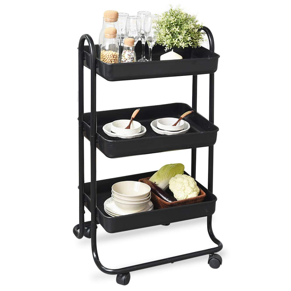 PexFix 3-Tier Rolling Utility Cart Multifunction Storage Trolley Service Cart with Mesh Basket, Metal Handles and Brake Caster Wheels for Bathroom, Kitchen, Office