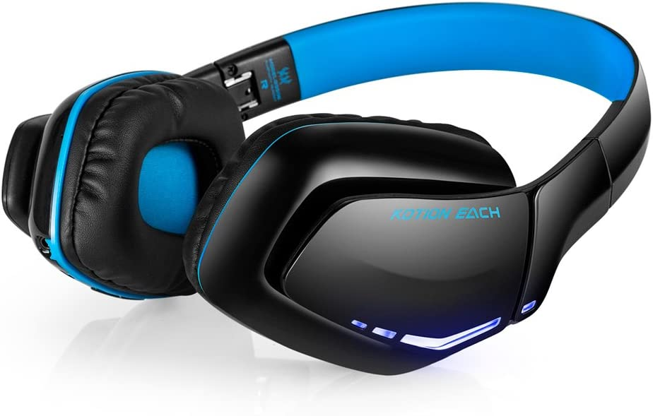 Foldable Headphones for PS4 Bluetooth 4.1 Wireless Headset & 3.5mm Wired with Microphone, Noise Isolation Gaming Headset with mic, for PS4 PC Mac Smartphones Computers Laptops (Black/Dark Blue)