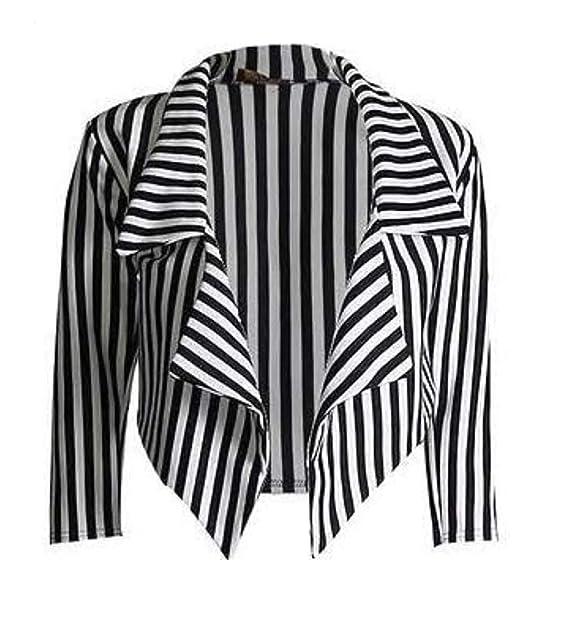 fd7ad190fe1df Love Celeb Look Womens Black White Striped Cropped Waterfall Coat Casual Jacket  Blazer Plus Size: Amazon.co.uk: Clothing
