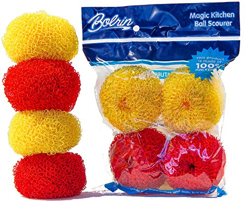 Bolrin Scratch Free Hard Polyester Pot & Dish Scrubber - 4 Pack Pan Scourer (Red/Yellow)