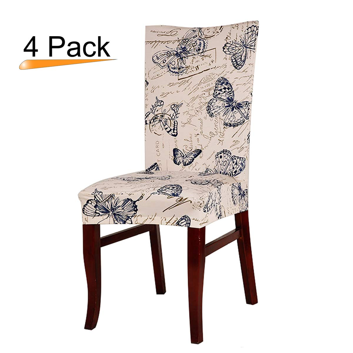 Stretch Removable Washable Short Dining Chair Protector Cover Home Decor Dining Room Seat Slipcover Set of 4, Vintage Butterfly