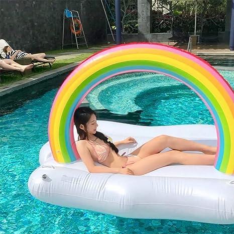 MAOLAOBAN Flotador de Piscina Inflable Gigante con Arco Iris, Isla ...