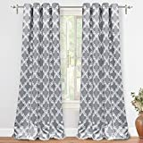 "DriftAway Julianna Geometric Pattern Thermal Insulated Blackout/Room Darkening Grommet Unlined Window Curtains, Set of Two Panels, each 52""x84"" (Gray)"