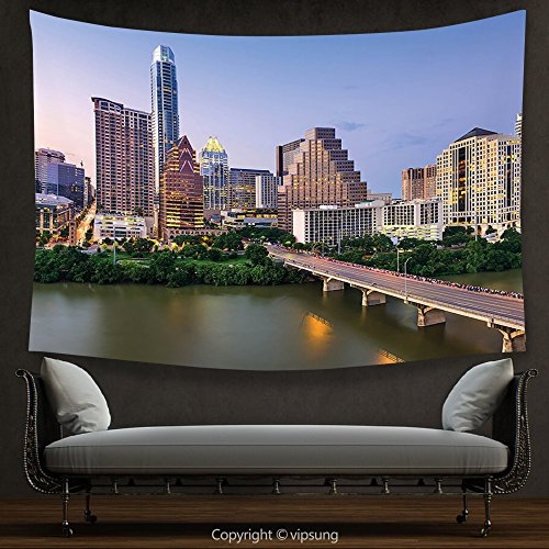 House Decor Tapestry Modern Austin Texas American City Bridge over the Lake Skyscrapers USA Downtown Picture Multicolor Wall Hanging for Bedroom Living Room Dorm (Downtown Austin Halloween Parade)
