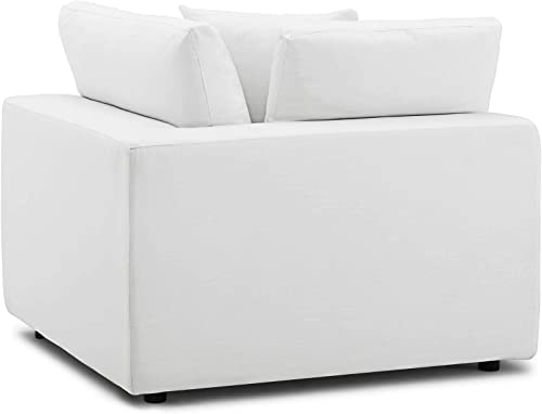Modway Commix Down-Filled Overstuffed Upholstered Sectional Sofa Corner Chair in White