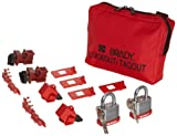 Brady 120/277V Breaker Lockout Pouch, Includes 2 Steel Padlocks and 2 Tags