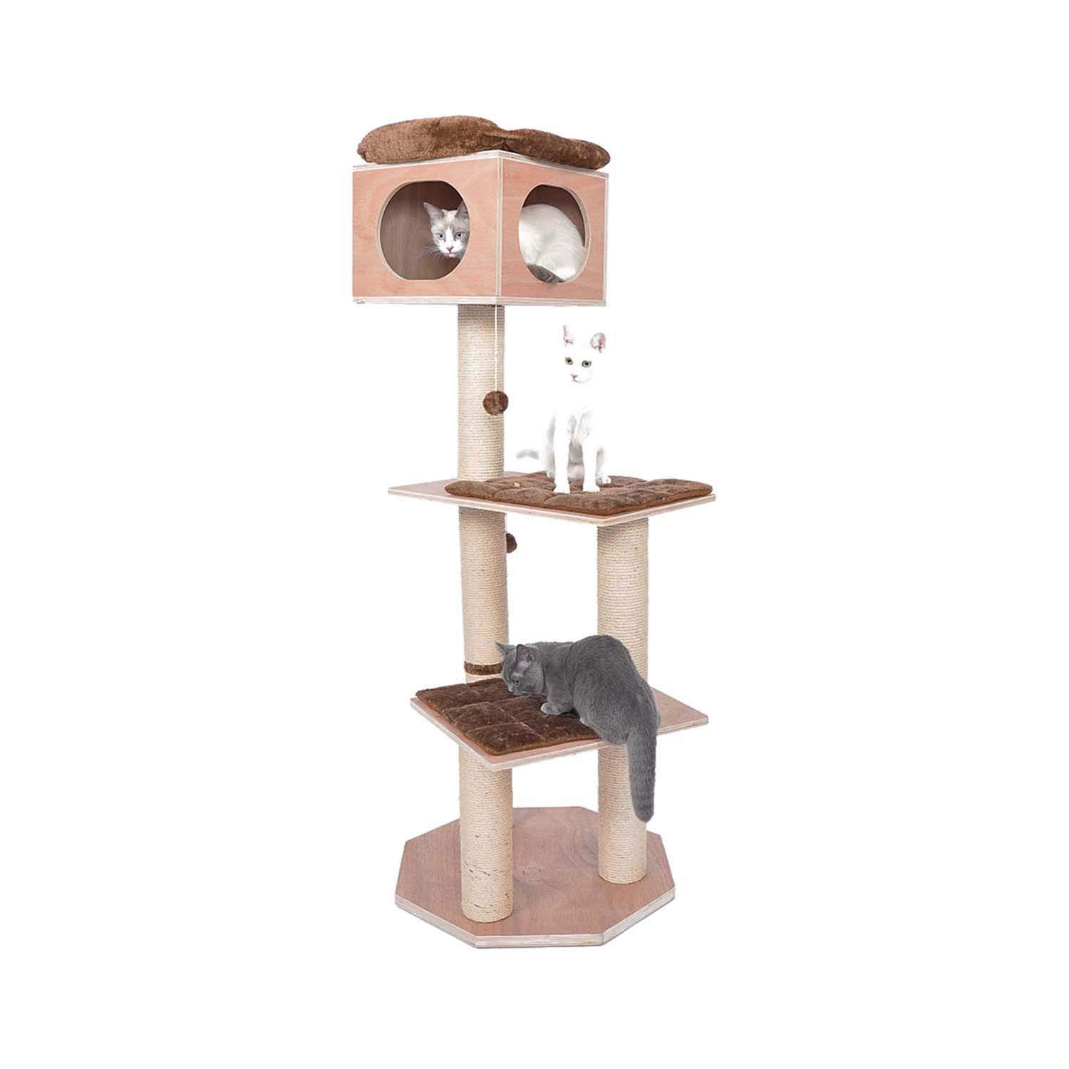 60cm60cm165cm Siler Cat Tree, Large Cat Climbing Frame Sisal Pillar with Cat House and Observation Deck Cat Activity Center Cat Scratch Board SL-040 (Size   60cm60cm165cm)