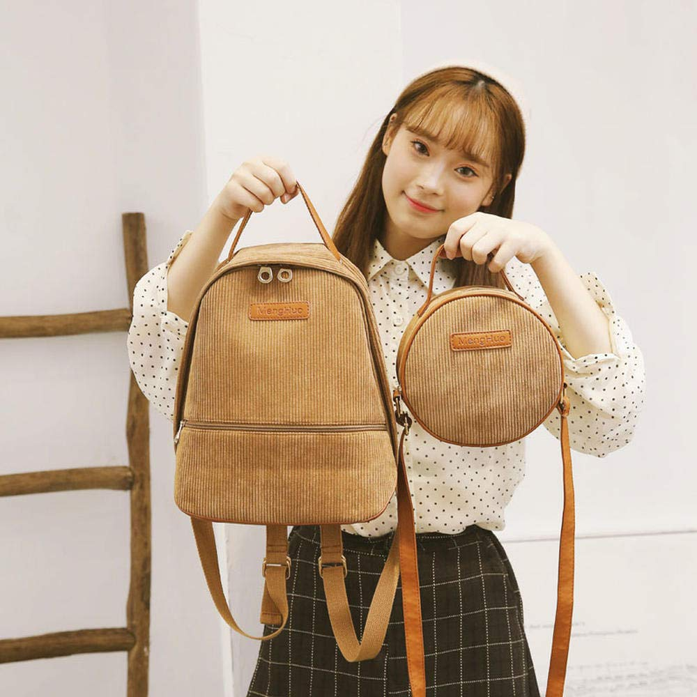 Brown CYCY Muang ins super fire backpack small fresh Japanese literary ancient sense girl bag junior high school students Korean version of the campus college wind canvas backpack tide black