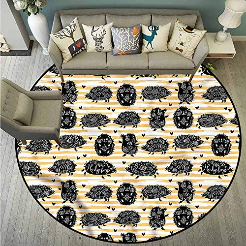 (Non-Slip Round Rugs,Hedgehog,Floral Mascots Stripes,Anti-Slip Doormat Footpad Machine Washable,3'7