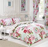 Signature Home Key to My Heart Floral Patchwork Bed in a Bag with Duvet Cover/Pillow Cases/Sheet and Curtains, Pink, Double by Signature Home