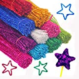 Saim 7 Colors 12 Inch Glitter Sparkle Creative Arts Stems Pipe Cleaners for DIY Craft