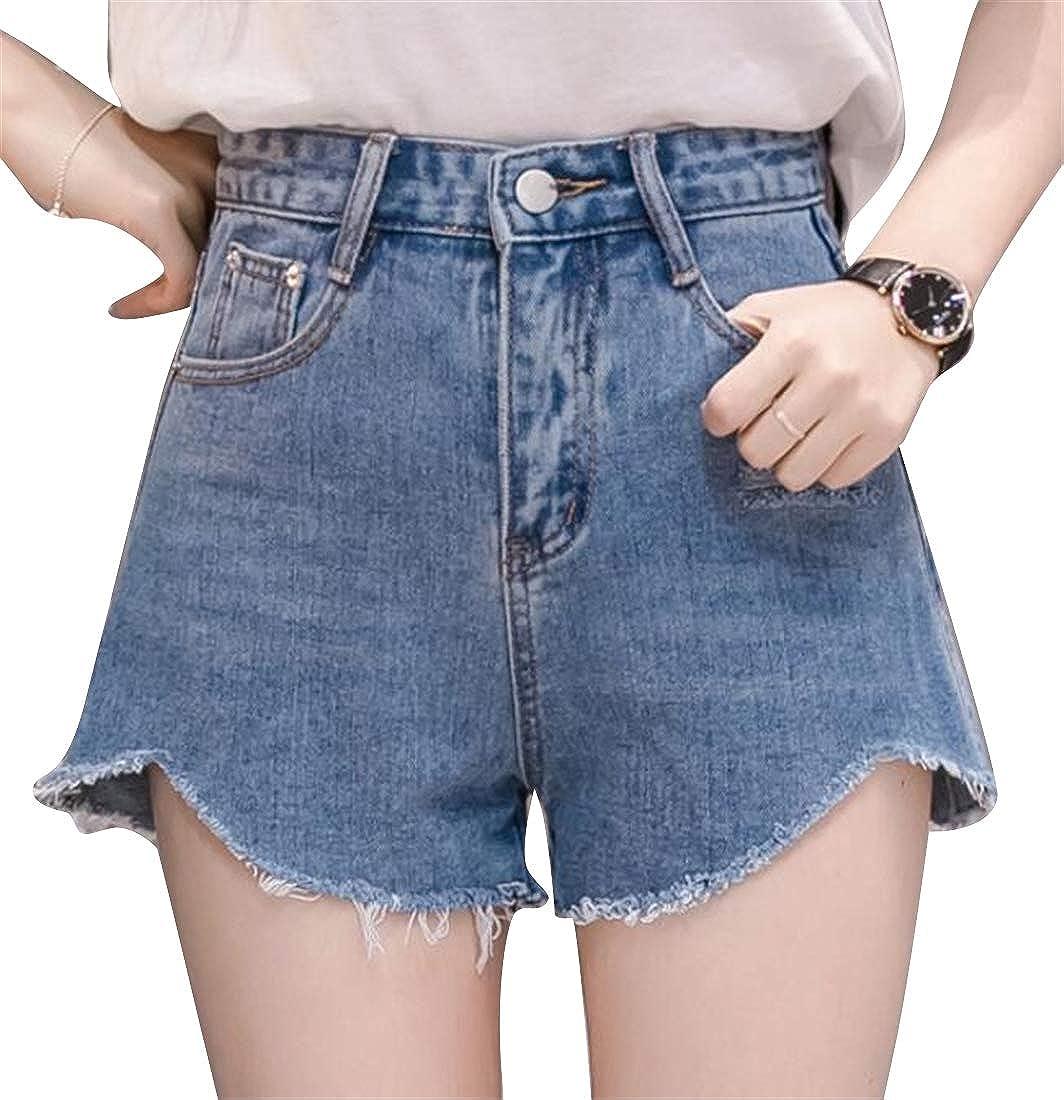 Spirio Womens Slim Fit Casual Irregular Hem High Waist Cutoff Denim Shorts Jeans