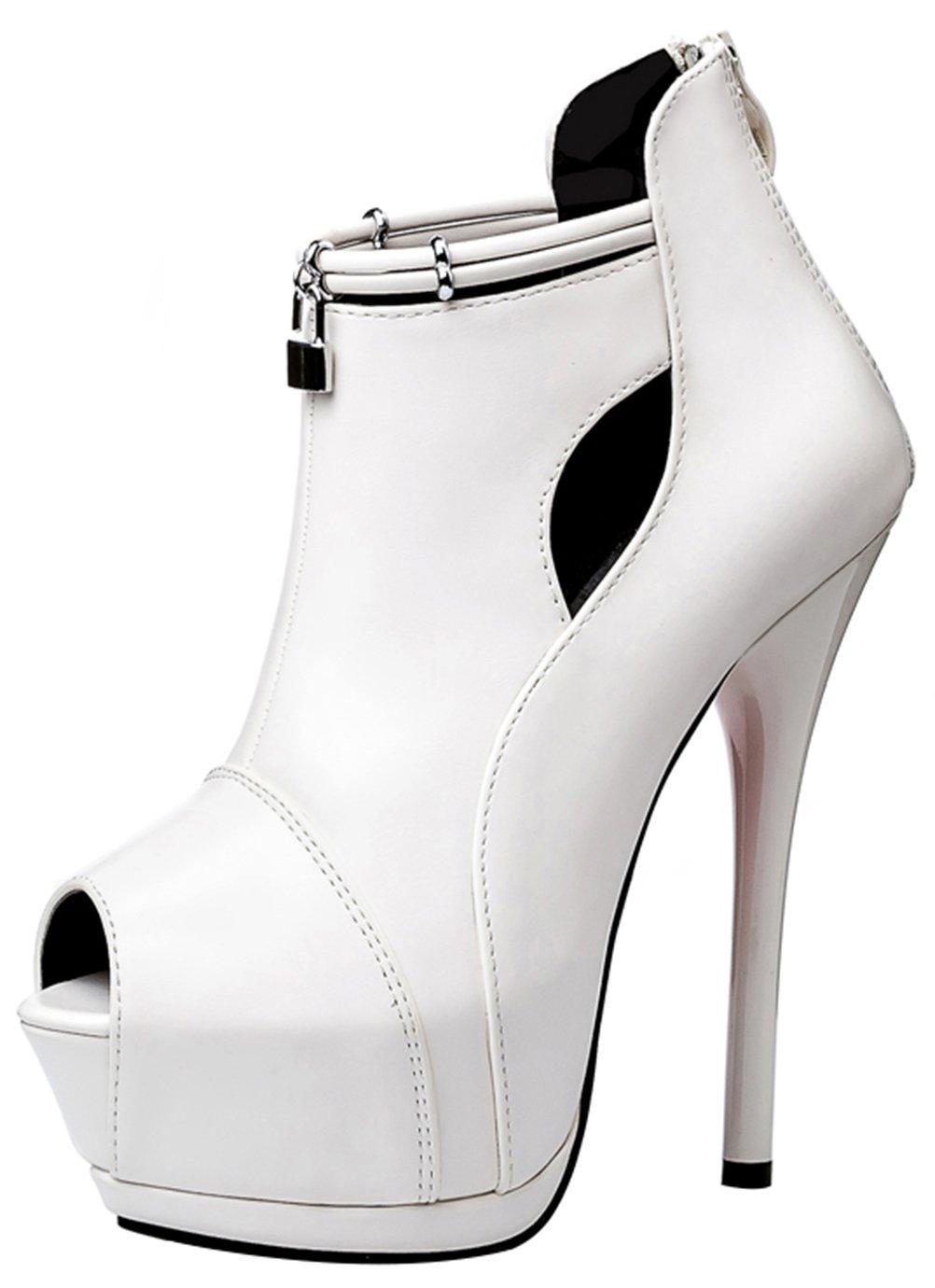 T&Mates Womens Trendy Peep Toe Platform Anti-Slip Extreme High Stiletto Heel Back Zip Pumps Booties (6 B(M) US,White)