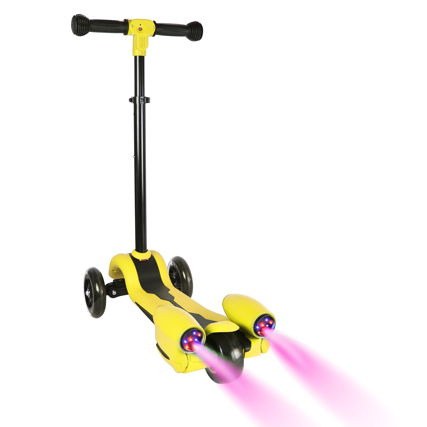 Wdtpro Kick Scooter for Kids, Atomizing Kid Scooters with LED Light Up Wheels, Rocket Sprayer and Sound Effect, Adjustable Height