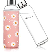 Ryaco Classic Glazen Drinkfles, Draagbaar, 550 Ml, Bpa-vrij, voor Onderweg, Sportfles, Glas, Waterfles voor Het Meenemen…