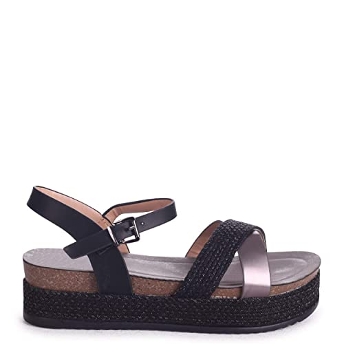 233f42f7a082 Venice - Black Plaited Sandal with Espadrille Flatform   Crossover Front  Strap  Amazon.co.uk  Shoes   Bags
