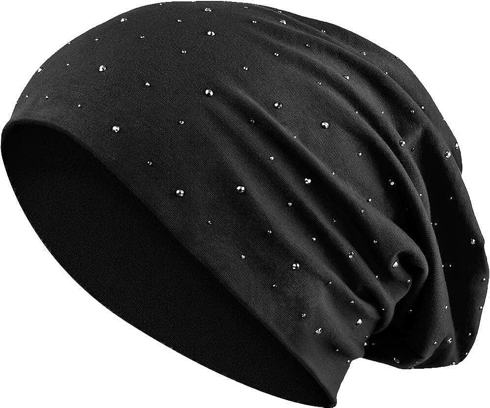 3bd0e284c63bde Jersey Baumwolle elastisches Long Slouch Beanie Unisex Herren Damen mit  Strass Stern Steinen Mütze Heather in 35 (7) (Black): Amazon.de: Bekleidung