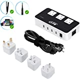 Key Power 200-Watt Step Down 220V to 110V Voltage Converter & International Travel Adapter/Power Strip - [Use for USA Applian