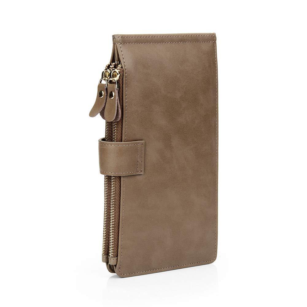 Brown Leather Purse Hand Bag Elegant Zipper Bag Safety Leakproof Big Capacity (color   Black)