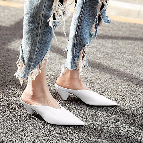 de White Siège YUCH Chaussures Mesdames Sandales PU Simple Pantoufles wRwxU7TF