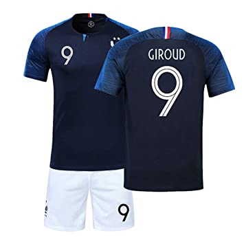 ZWXYA FFF Campeón del Equipo Francés Camiseta 2018 Copa del Mundo Dos Estrellas con Pantalones Cortos